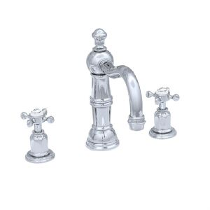 3721 Perrin & Rowe Three Hole Basin Mixer Tap With Country Spout Crosshead